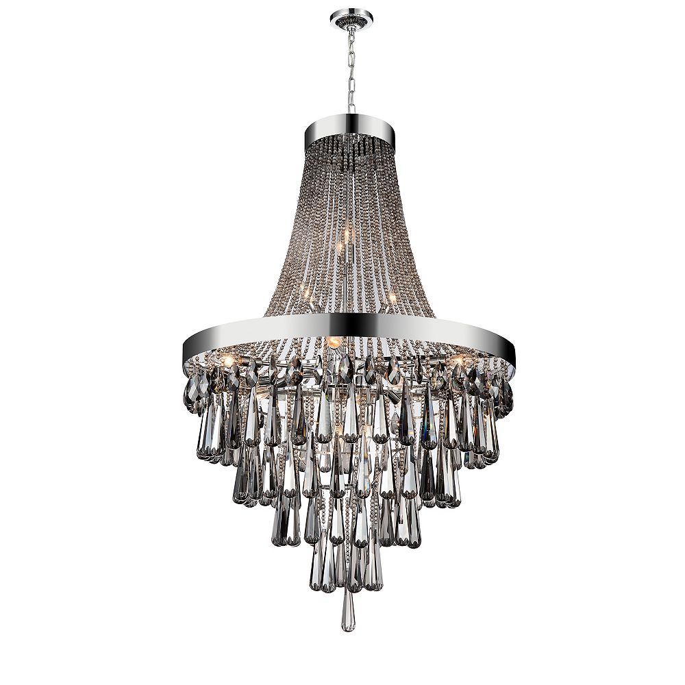 CWI Lighting 17-Light Chandelier in Chrome with Smoke Crystals