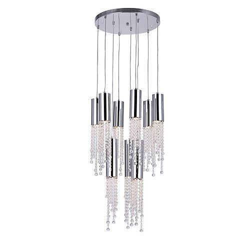 Lustre à 9 lampes avec base circulaire chromée