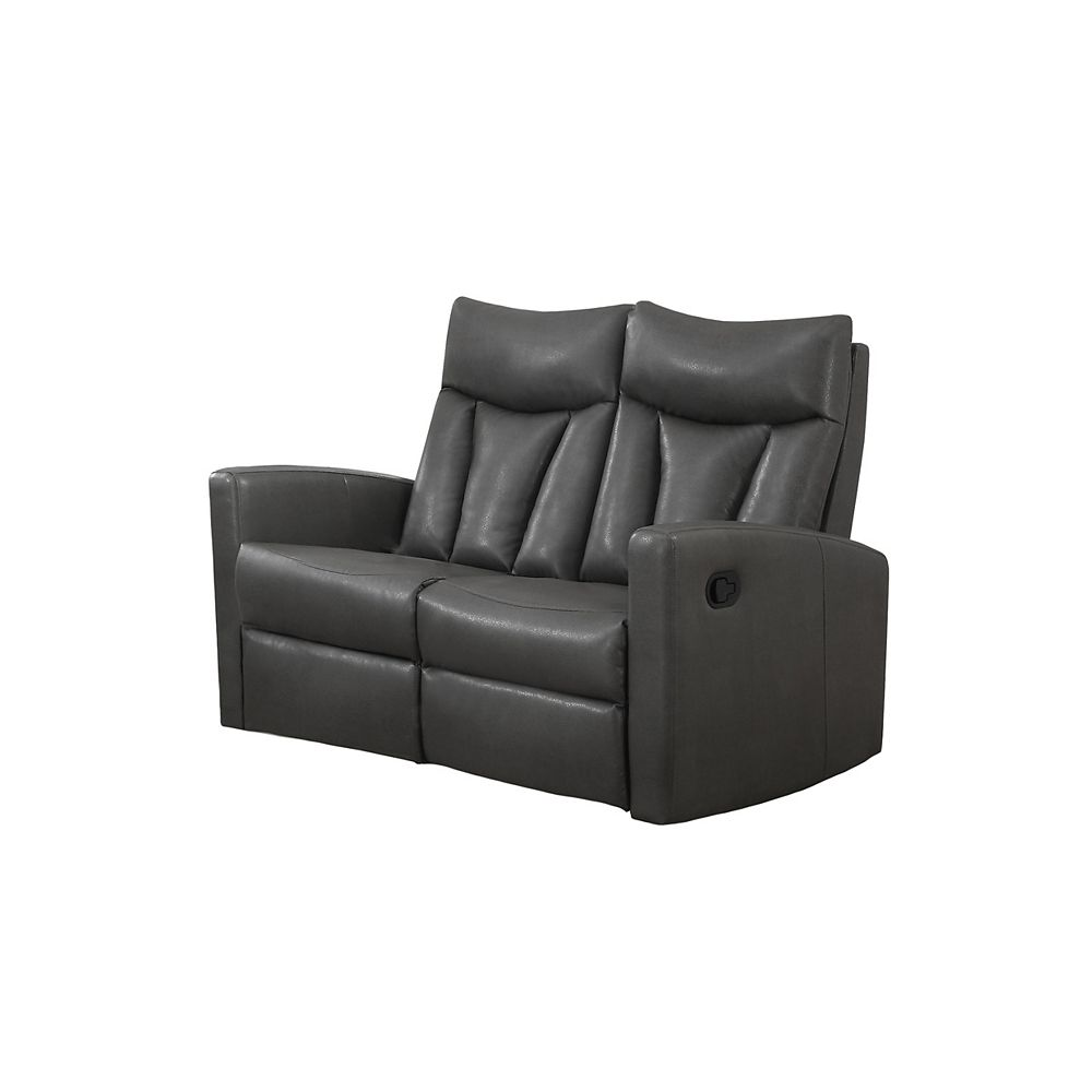 Monarch Specialties Reclining - Grey Bonded Leather Love Seat