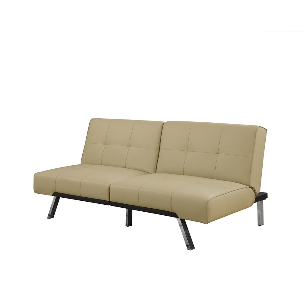 Monarch Specialties Futon - Split Back Click Clack / Taupe Leather-Look