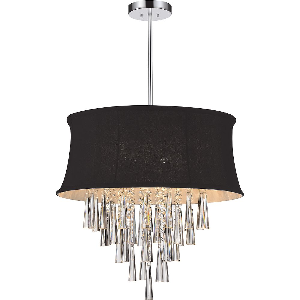 CWI Lighting 6 Light Pendent With Black Shade