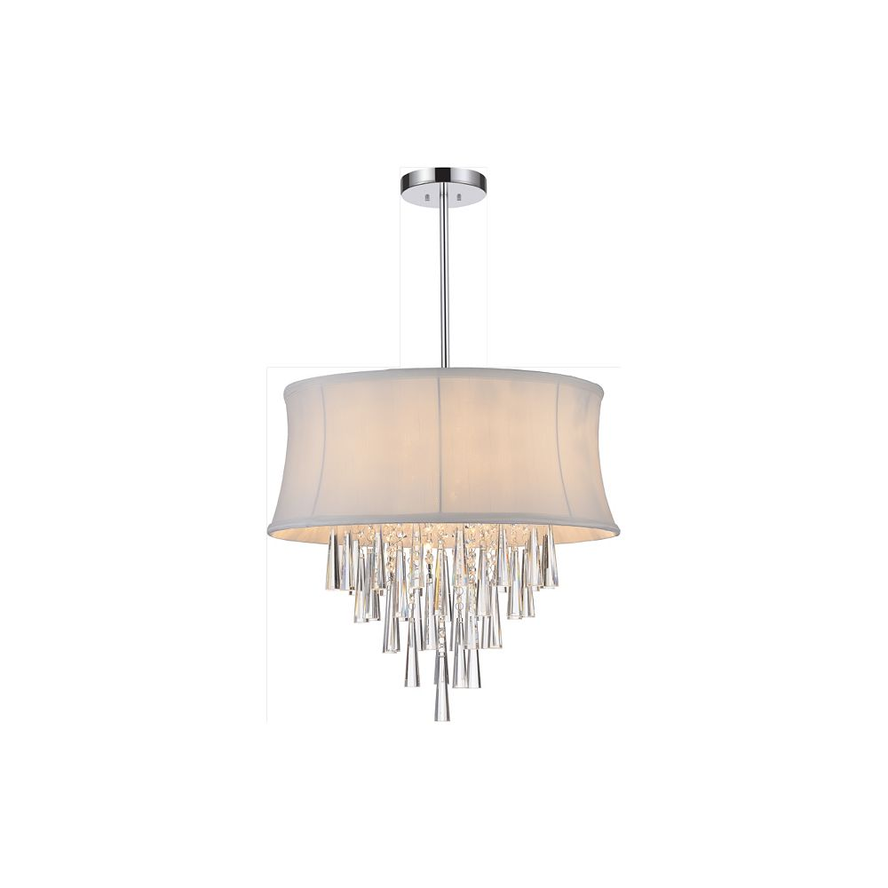 CWI Lighting 8 Light Pendent With Off White Shade