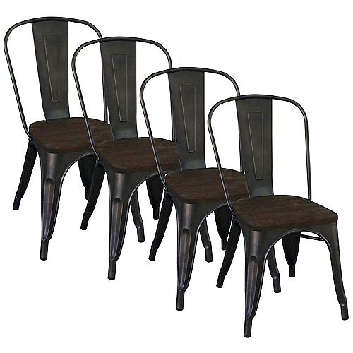 Modus Metal Black Parson Armless Dining Chair with Black Wood Seat - (Set of 4)