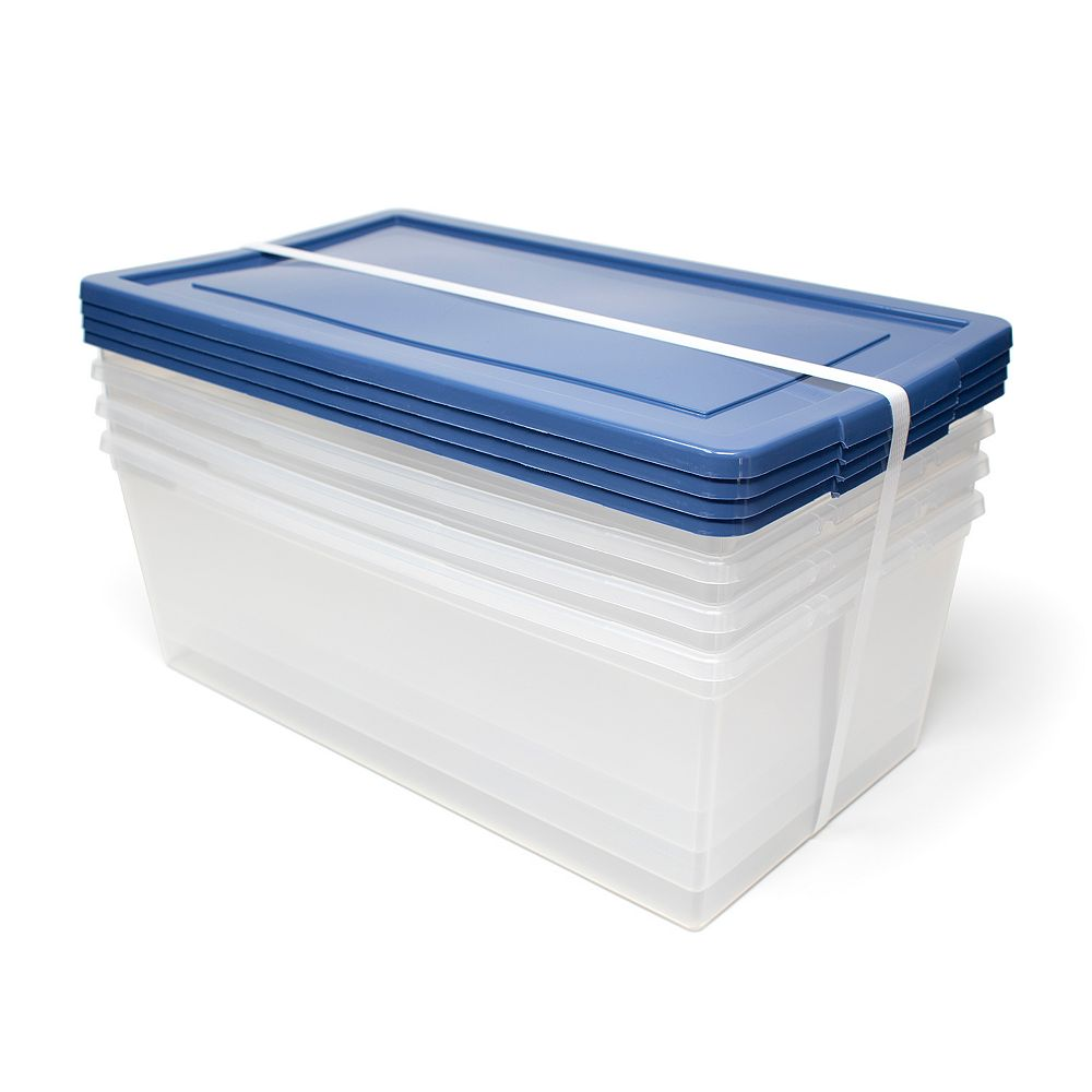 HDG Shoe Storage Tote in Blue with Clear Base (4-Pack)