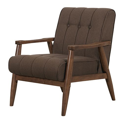 Durango Contemporary Occasional Accent Chair in Brown with Solid Pattern