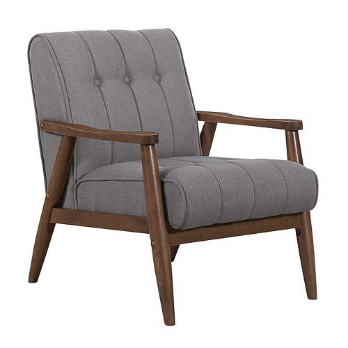 Durango Contemporary Occasional Accent Chair in Grey with Solid Pattern