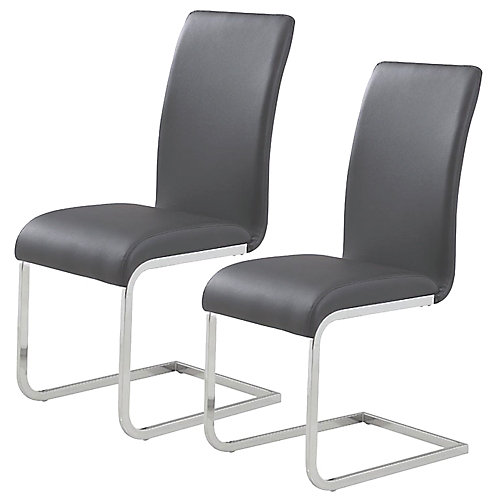 Maxim Metal Chrome Parson Armless Dining Chair with Grey Leather Seat (Set of 2)