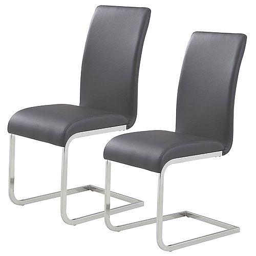 Chaise Parson sans accoudoirs Maxim, métal chromé, siège cuir noir, ens. de 2