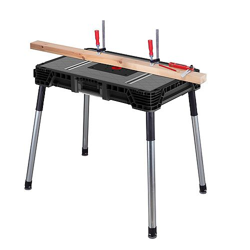 1.8 ft. x 3 ft. Portable Jobsite Workbench in Black