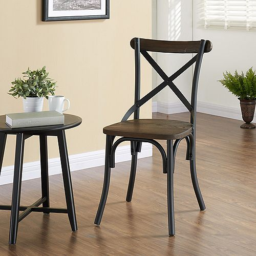 Fargo Solid Wood Brown Parson Armless Dining Chair with Brown Solid Wood Seat
