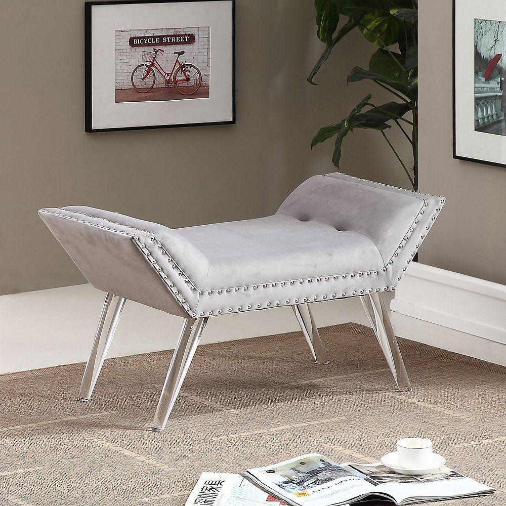 !nspire Vera 35-inch x 18.25-inch x 17-inch Plastic/Acrylic Frame Bench in Grey