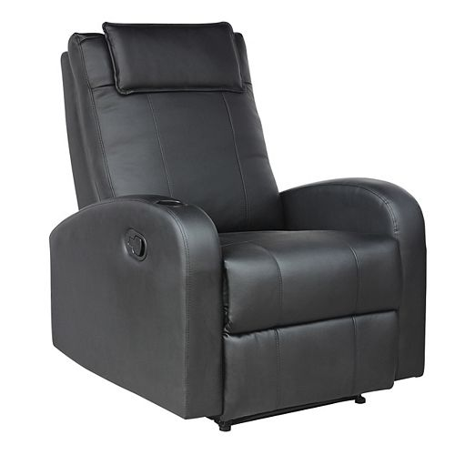 Yalaha Faux Leather Recliner in Black