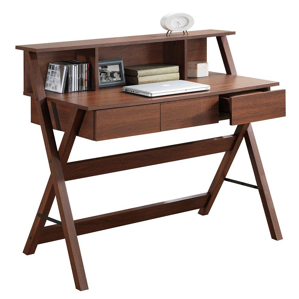 Corliving Folio 43-inch x 38-inch x 22-inch Standard Writing Desk in Walnut