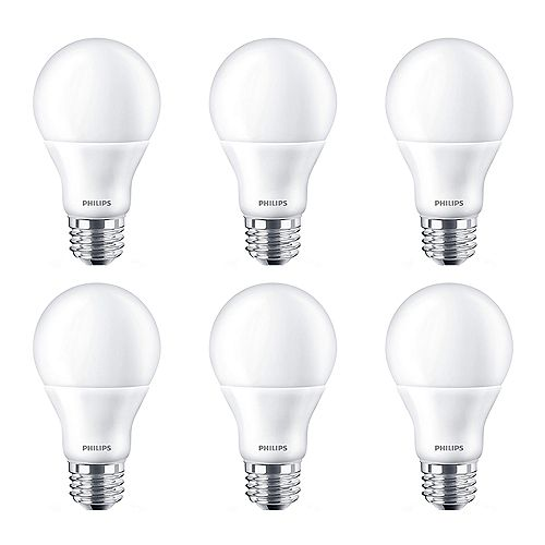 Philips 60W Equivalent Bright White (3000k) A19 LED Light Bulb ENERGY STAR® (6-Pack)