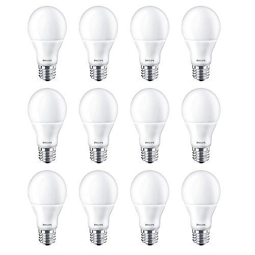 60W Equivalent Bright White (3000k) A19 LED Light Bulb ENERGY STAR® (12-Pack)