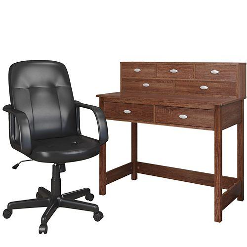 Folio 39-inch x 41-inch x 44-inch Standard Writing Desk in Brown