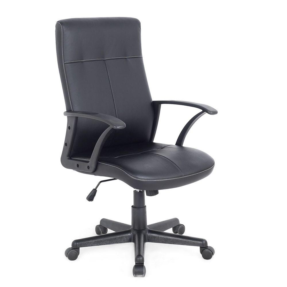 Corliving Workspace Black Leatherette Office Desk Chair with Contoured Backrest