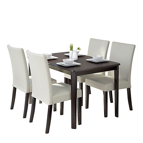 Atwood 47-inch Dining Table with 4 Cream Leatherette Chairs