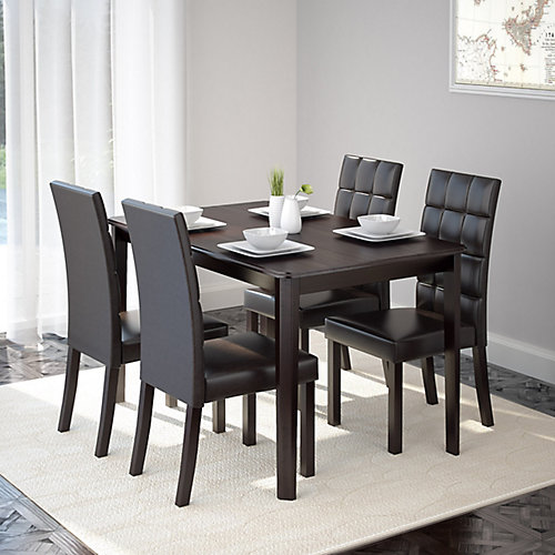 """Atwood 47"""" Dining table with 4 Dark Brown Leatherette Seats"""