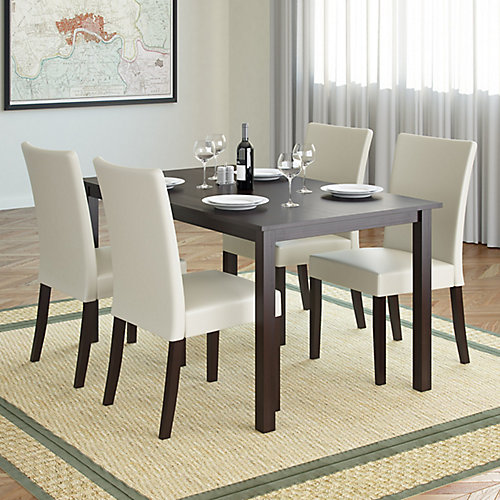 Atwood 55-inch Dining Table in Cappuccino with 4 Cream Leatherette Chairs