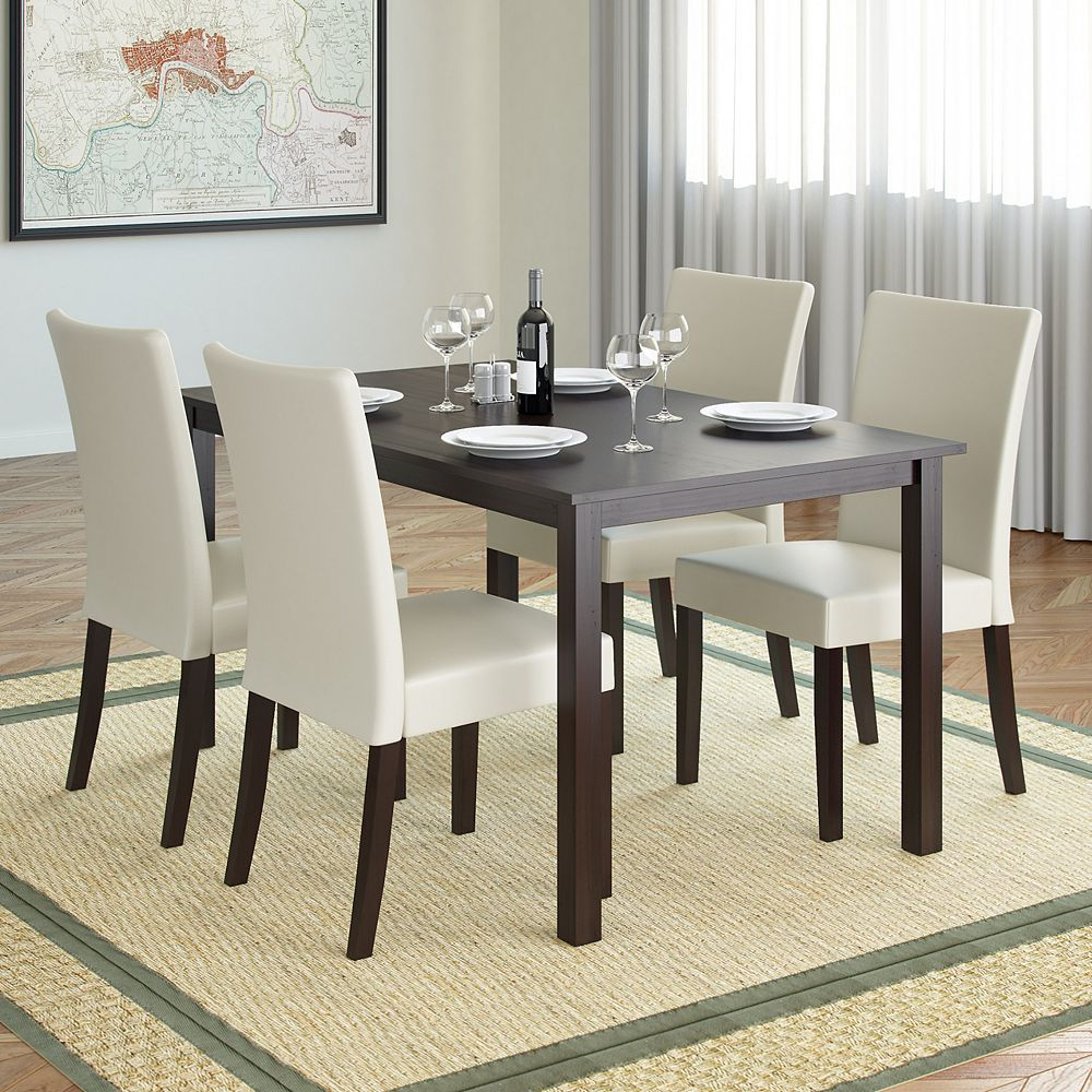 Atwood 9 inch Dining Table in Cappuccino with 9 Cream Leatherette Chairs