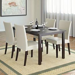Ensemble de salle à manger 5p. avec sièges en similicuir couleur crème