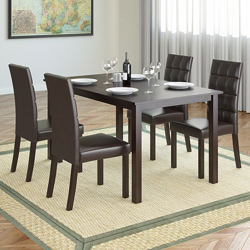 Atwood 55-inch Dining Table in Cappuccino with 4 Dark Brown Leatherette Chairs
