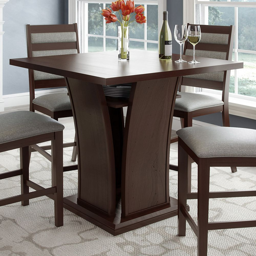 Corliving Bistro 36 Inch Counter Height Cappuccino Dining Table With Curved Base The Home Depot Canada