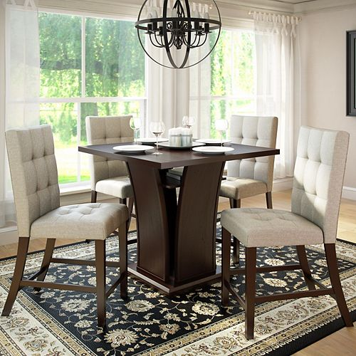 Bistro 5-Piece 36 Inch Counter Height Rich Cappuccino Dining Set - Tufted Platinum Sage