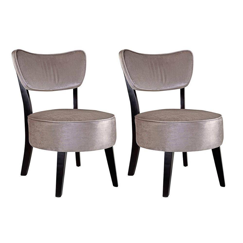 Corliving Ensemble de 2 fauteuils daccent Antonio en velours gris