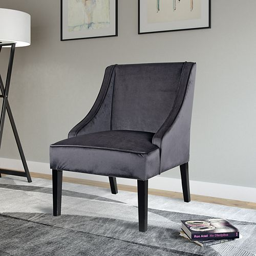 Antonio Contemporary Club Velvet Accent Chair in Grey with Solid Pattern