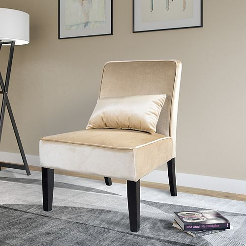 Antonio Contemporary Club Velvet Accent Chair in Beige with Solid Pattern