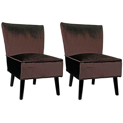 Antonio Contemporary Club Velvet Accent Chair in Brown with Solid Pattern