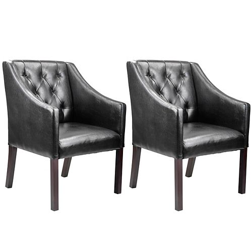 Antonio Contemporary Club Accent Chair in Black with Solid Pattern