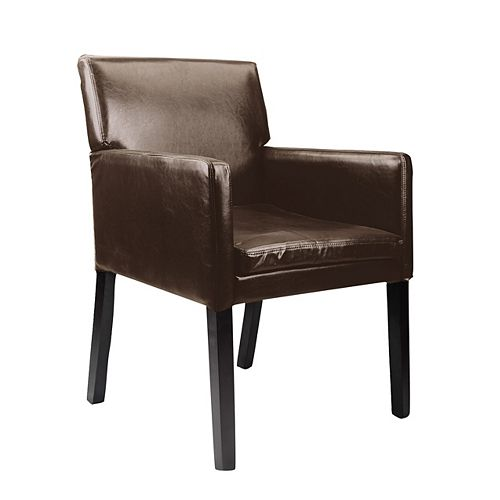 Antonio Contemporary Club Genuine Leather Accent Chair in Brown with Solid Pattern