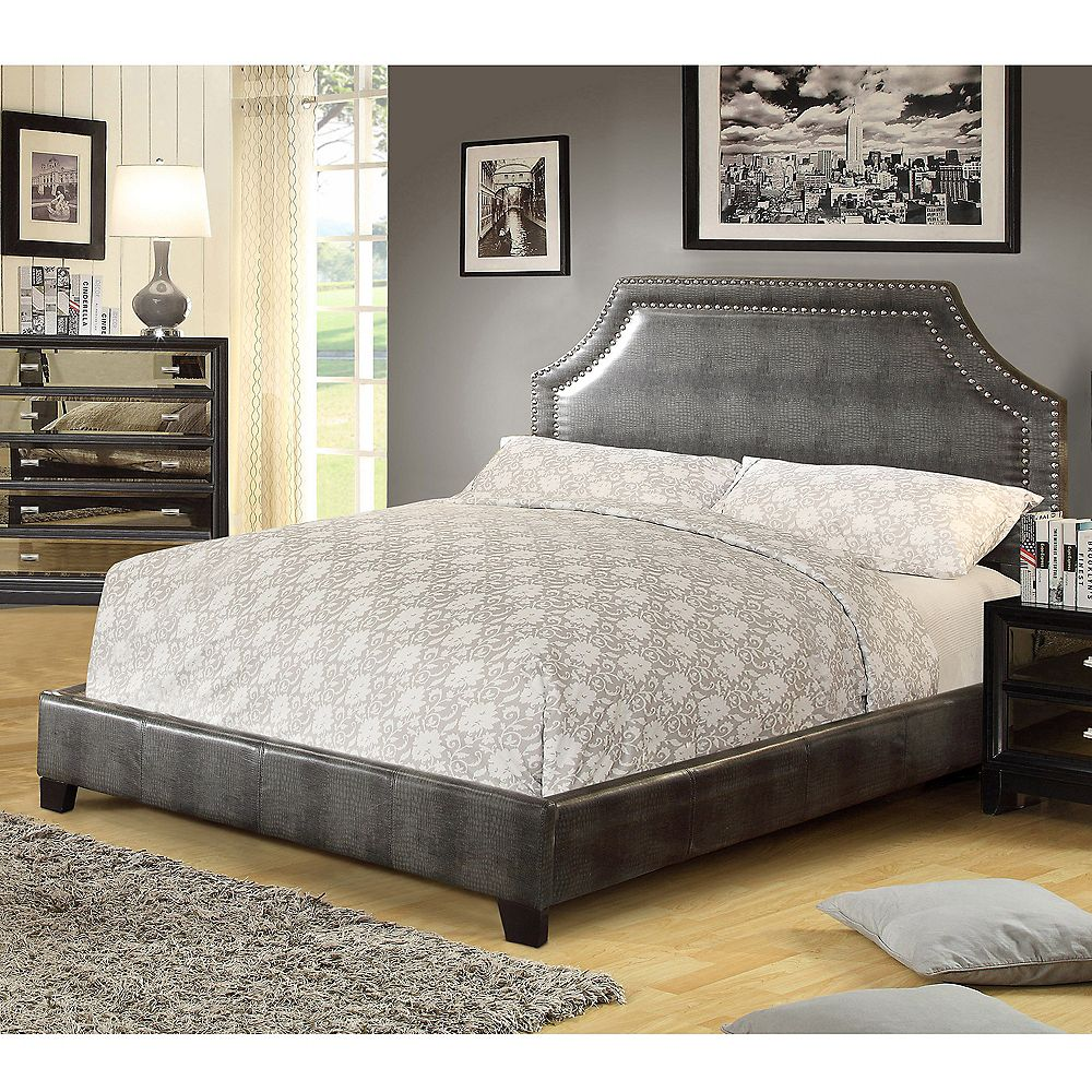 !nspire Lisbon Double  Bed With Nailhead-Grey