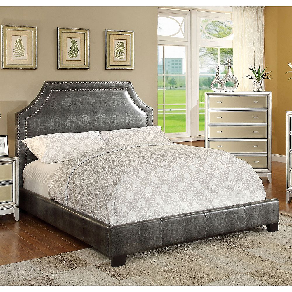!nspire Lisbon Queen Bed With Nailhead-Grey