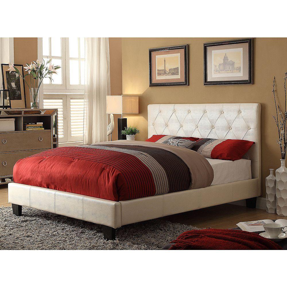 Worldwide Homefurnishings Inc. Waltz Double Platform Bed-Pearl