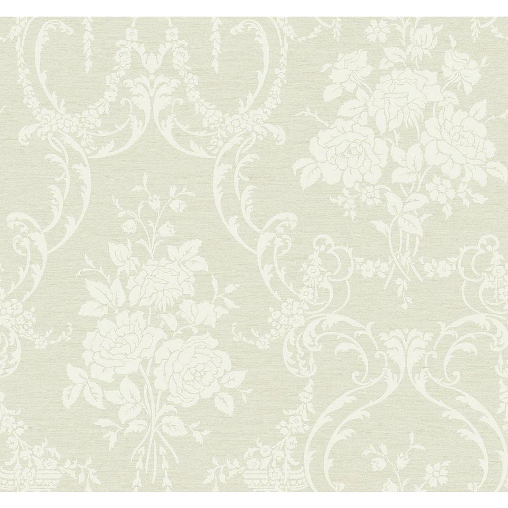 York Wallcoverings Saint Augustine Dove Gray/Graphite Neoclassical Rose Damask Wallpaper