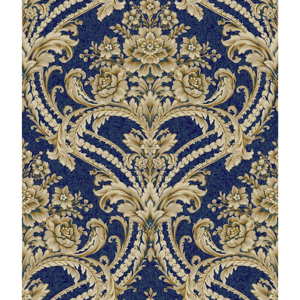 York Wallcoverings Saint Augustine Baroque Floral Damask Wallpaper