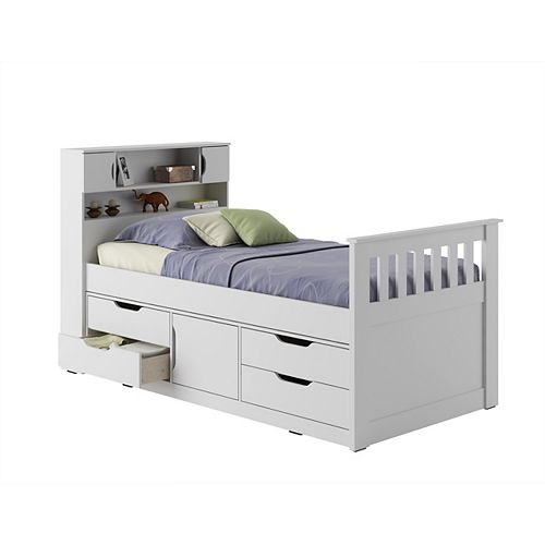 Madison Twin/Single Captain's Bed In Snow White