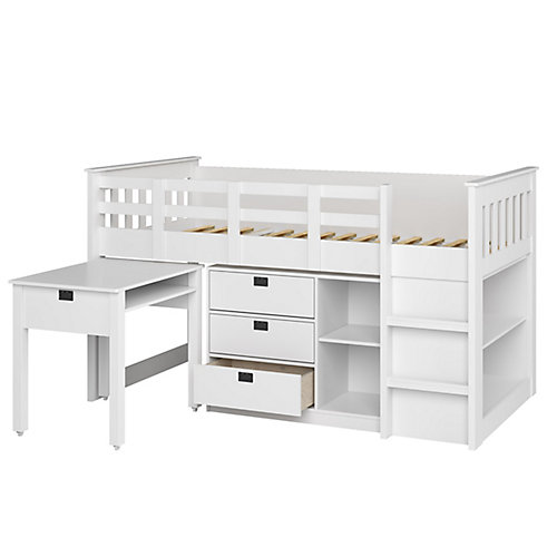 Madison 4-Piece All-In-One Single/Twin Loft Bed In Snow White