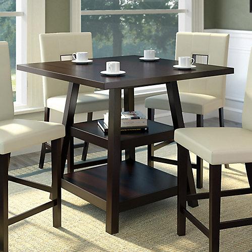Table de salle à manger à hauteur de comptoir avec étagères