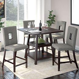 Ensemble de salle de manger 5 pièces couleur - Tissu gris étain