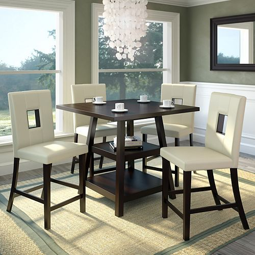 Bistro 5-Piece 36 Inch Counter Height Rich Cappuccino Dining Set - White Leatherette