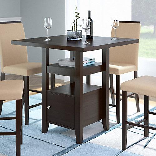 Table de salle à manger à hauteur de comptoir avec armoire de rangement