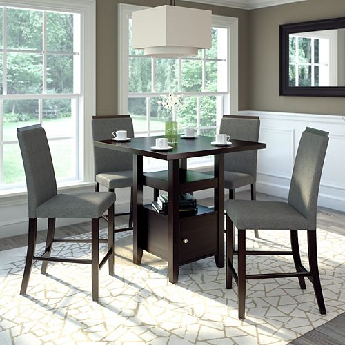 Bistro 5-Piece 36 Inch Counter Height Rich Cappuccino Dining Set - Pewter Grey