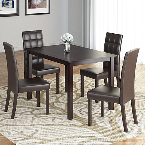 """Atwood 43"""" Dining table with 4 Dark Brown Leatherette Seats"""