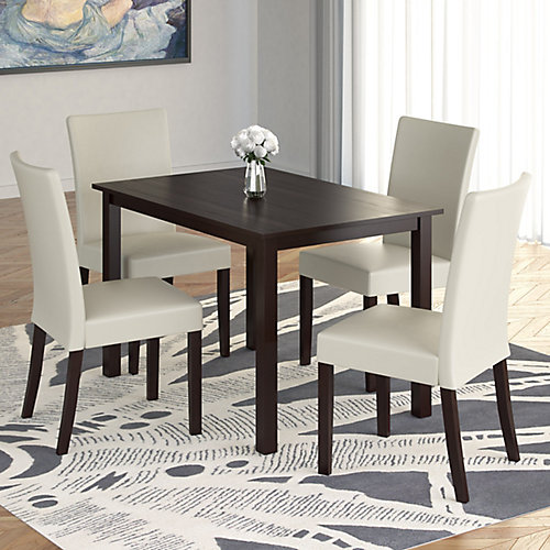 """Atwood 43"""" Dining Table with 4 Cream Leatherette Chairs"""