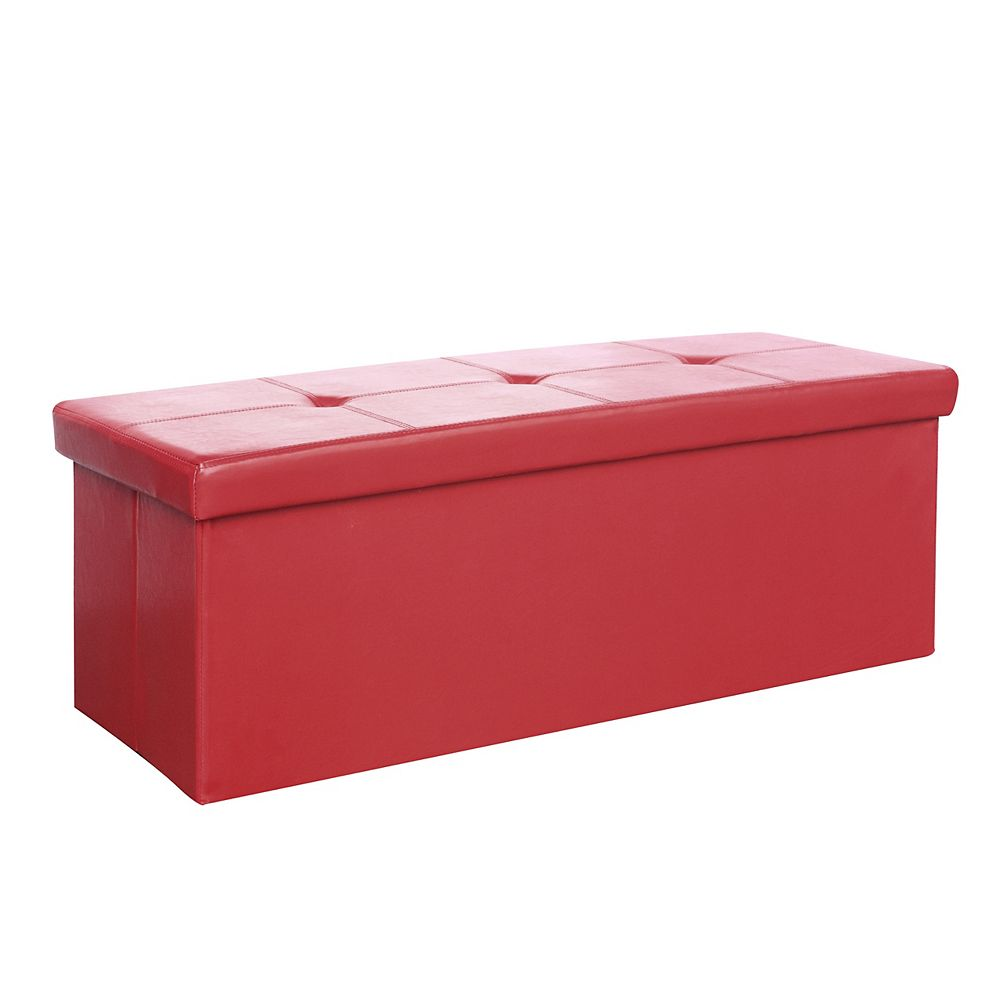 Corliving Denali 42-inch x 16-inch x 16-inch Faux Leather Ottoman in Red